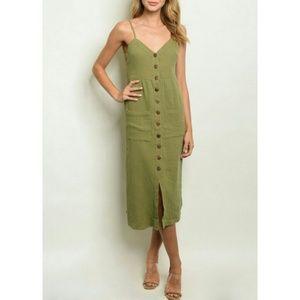 Olive Button Down Midi Dress